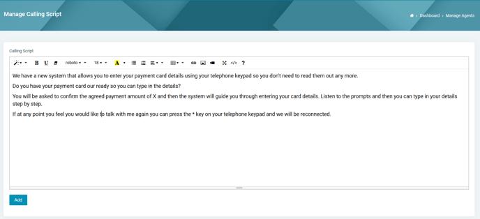 Merchant VT - Calling script editor 20092019