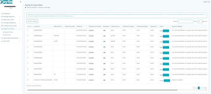 Payment reports