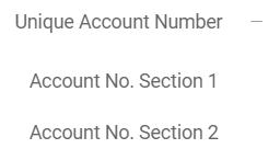 Unique Account Number Menu