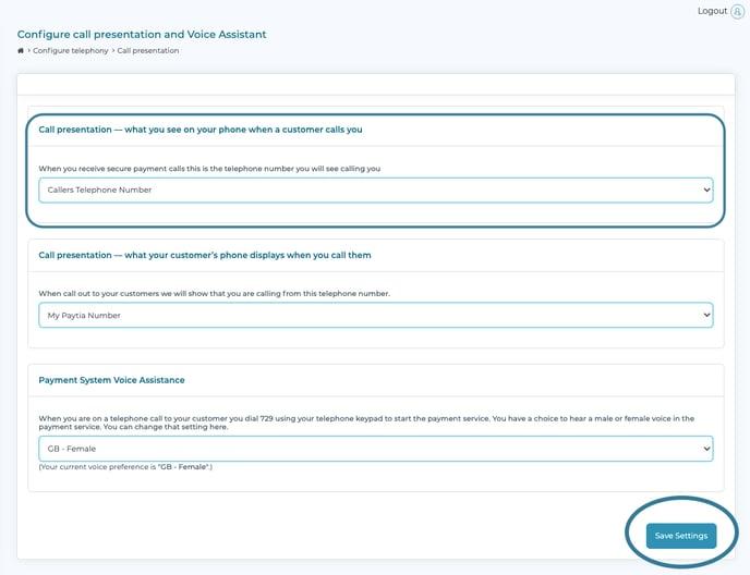 inbound call presentation paytia secure virtual terminal